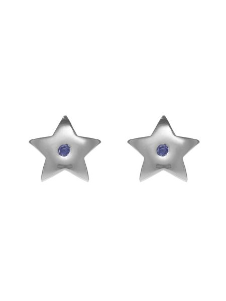 Chavin Silver star studs with blue sapphire