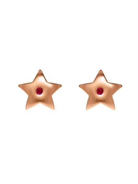 Chavin Rose gold star studs with ruby