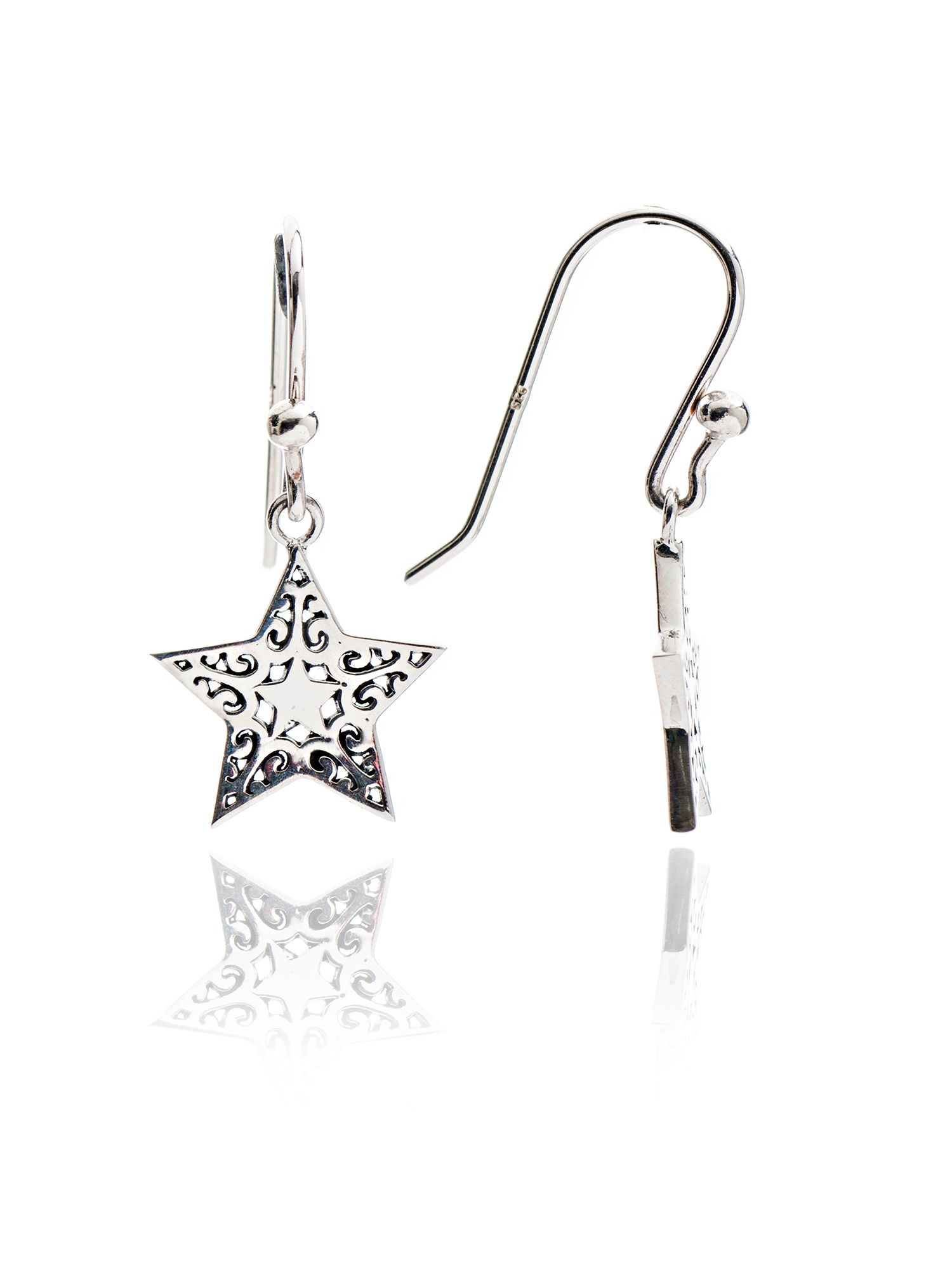 chavin silver filigree star drop earrings