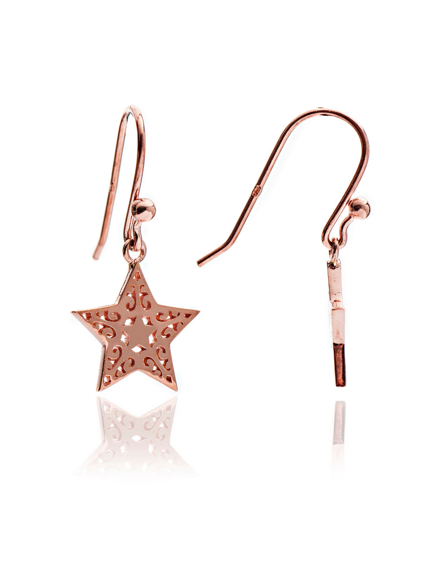 chavin rose gold filigree star drop earrings