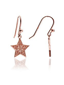 Rose gold filigree star drop earrings