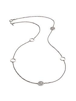 Silver jaguar five charm necklace