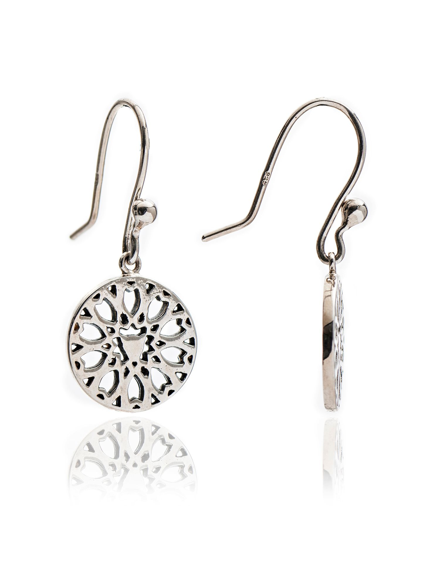 chavin silver jaguar filigree drop earrings