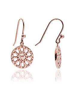 Rose gold jaguar filigree drop earrings