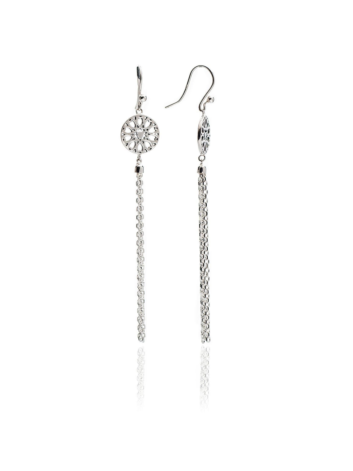 chavin silver jaguar filigree tassel earrings