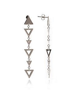 Silver triangle big small earrings