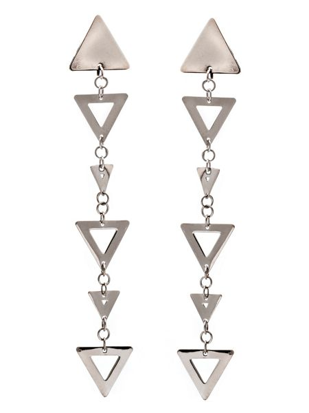 Chavin Silver triangle big small earrings