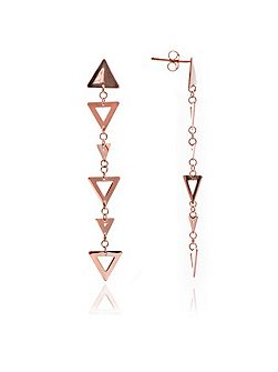 Rose gold triangle big small earrings