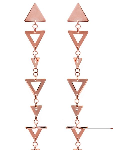 Chavin Rose gold triangle big small earrings