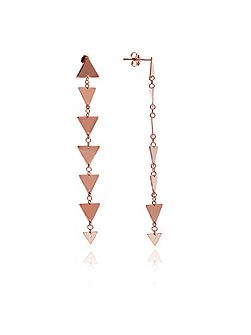 Rose gold triangle solid dangle earrings