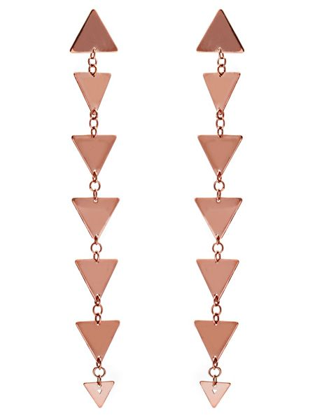 Chavin Rose gold triangle solid dangle earrings