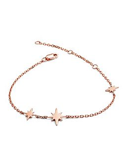 Rose gold three star bracelet
