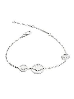 Silver three star circle bracelet