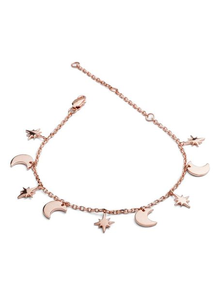 Chavin Rose gold moon star dangle bracelet