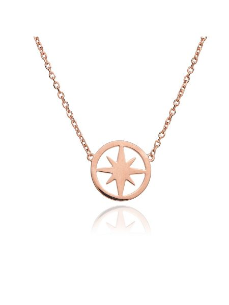 Chavin Rose gold circle star necklace