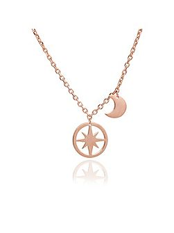 Rose gold moon and star pendant