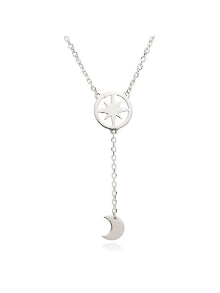 Chavin Silver moon and star dangle pendant