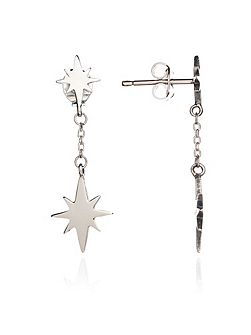 Silver double star drop earring