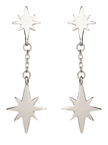 Chavin Silver double star drop earring