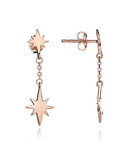 Rose gold double star drop earring