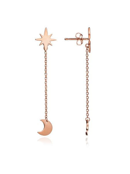 Chavin Rose gold star and moon dangle earring