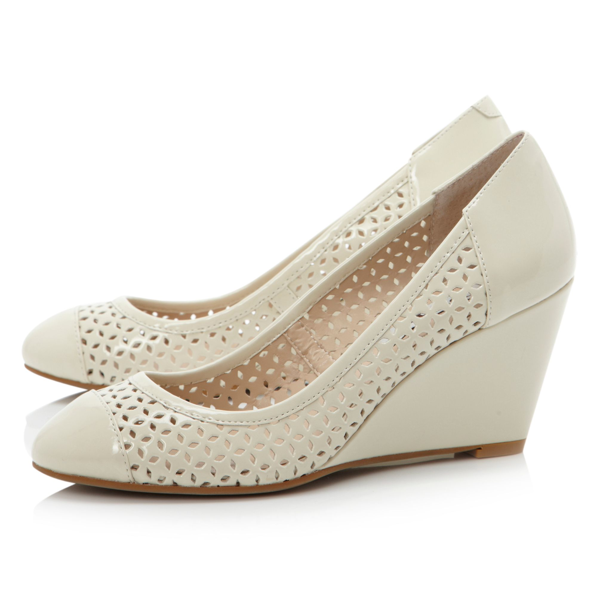 Antics laser cut wedged court shoes