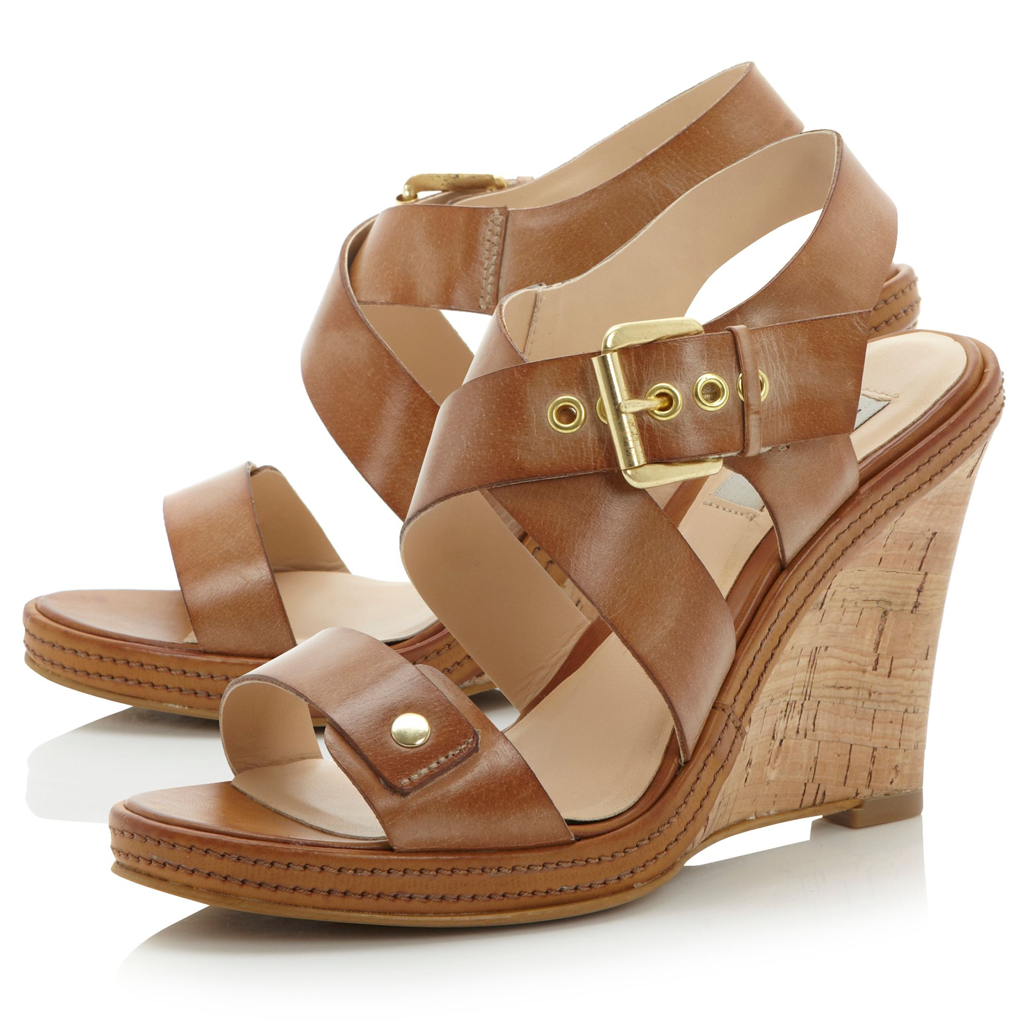 Gazella buckle wedge sandals