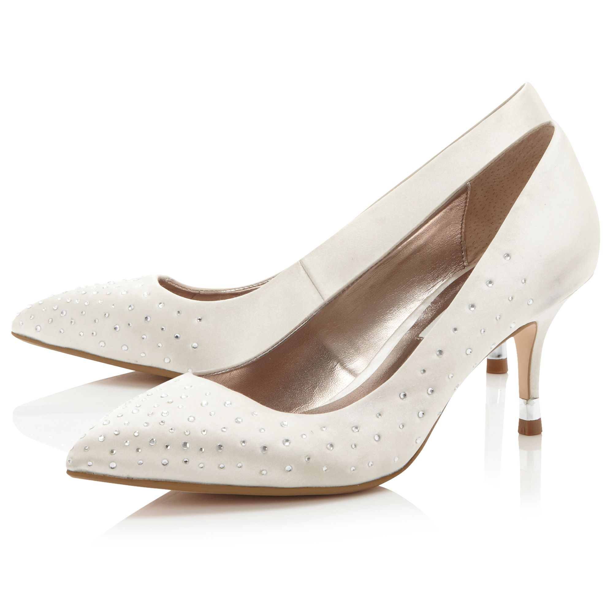 Bridal scattered diamante court shoes