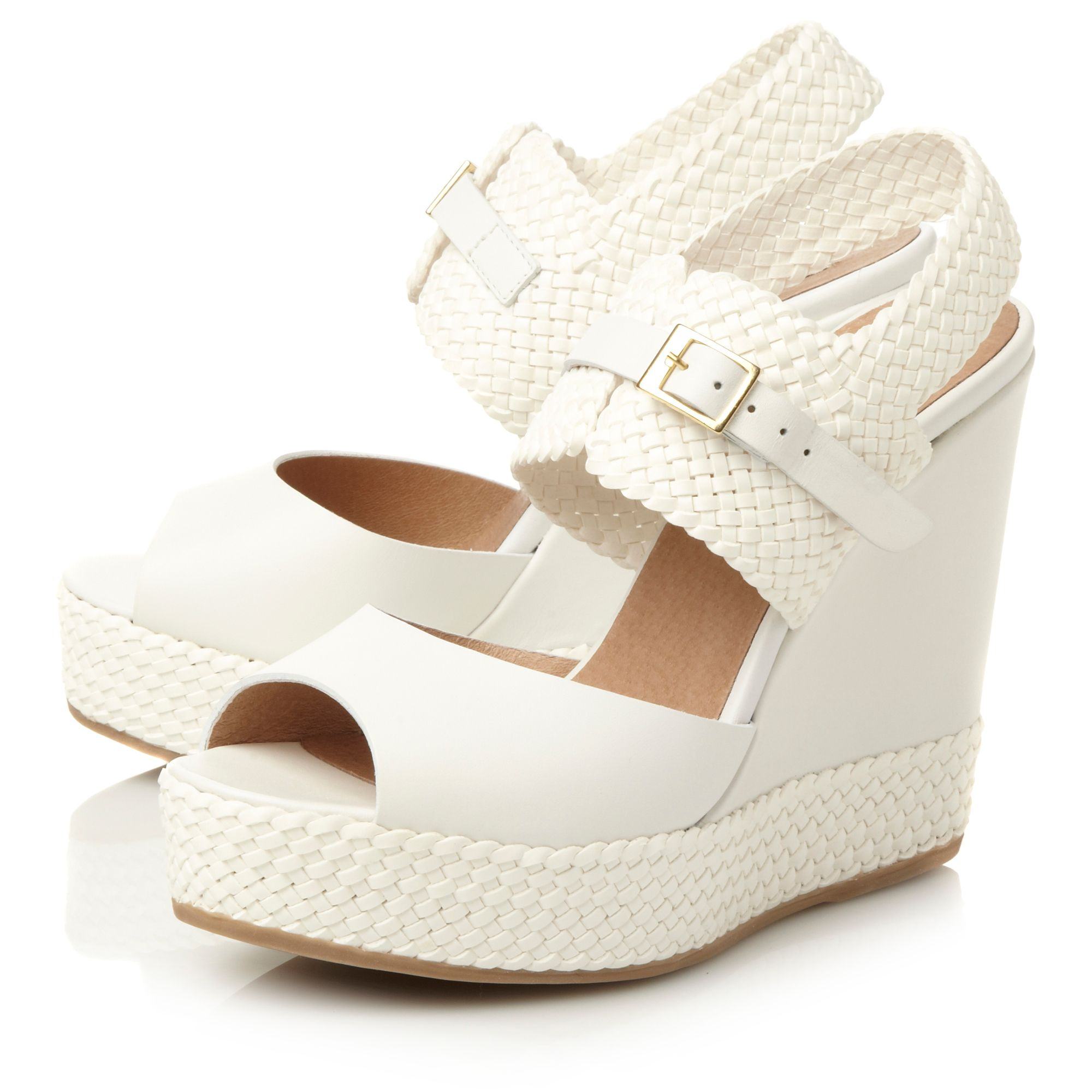 Litzy woven wedge with buckle