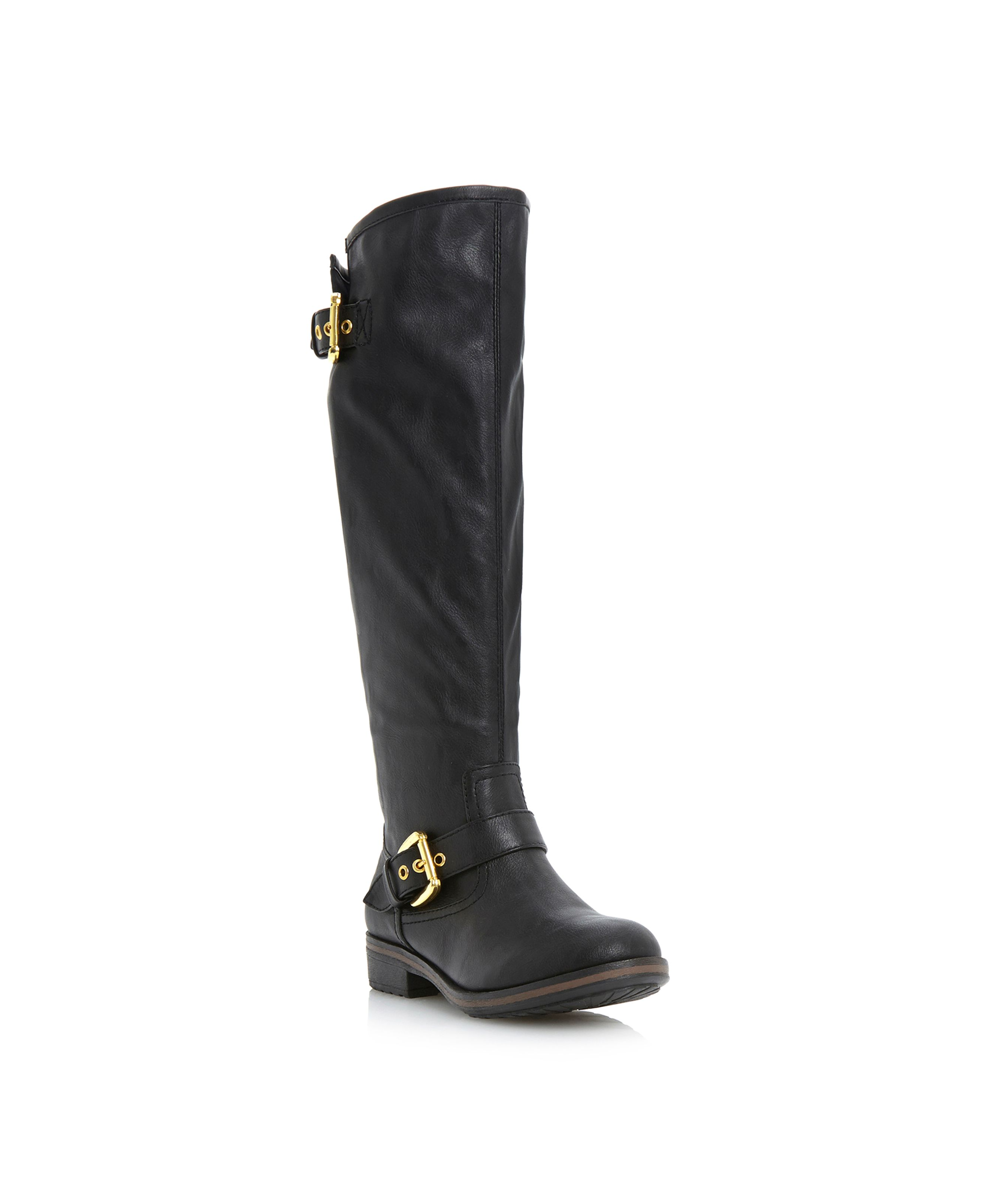 Tumbler-zip back knee boots