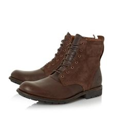 Mixed material lace up boots