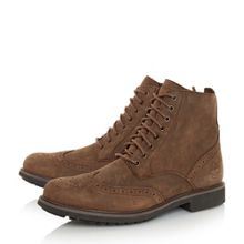 Nubuck lace up brogue boots