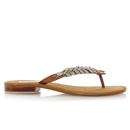 Dune kindy diamante toe post sandals