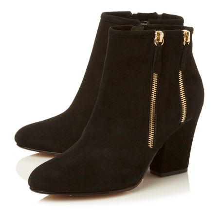 Dune Noras double side zip block heel boots