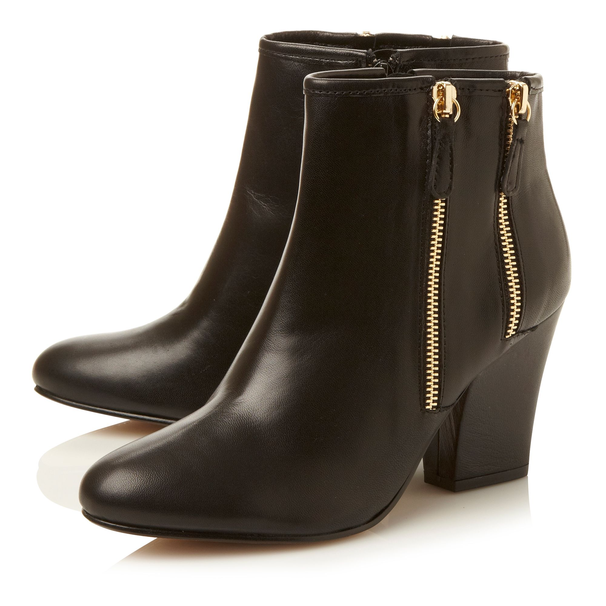 Noras double side zip block heel boots