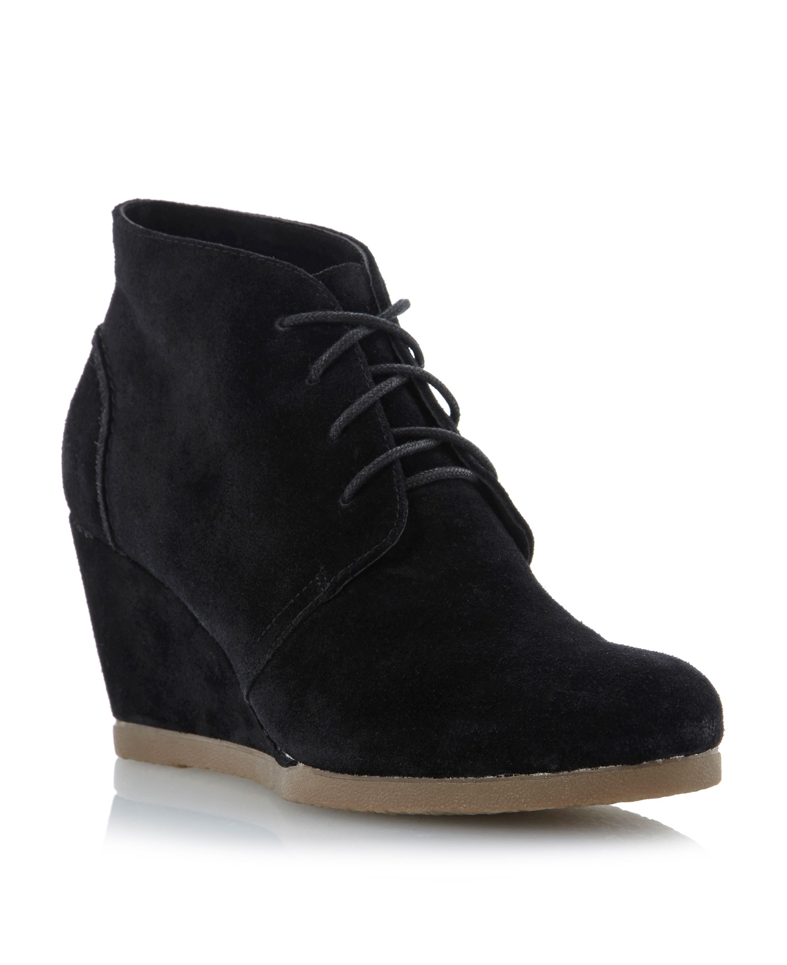 Praff crepe wedge lace up boots
