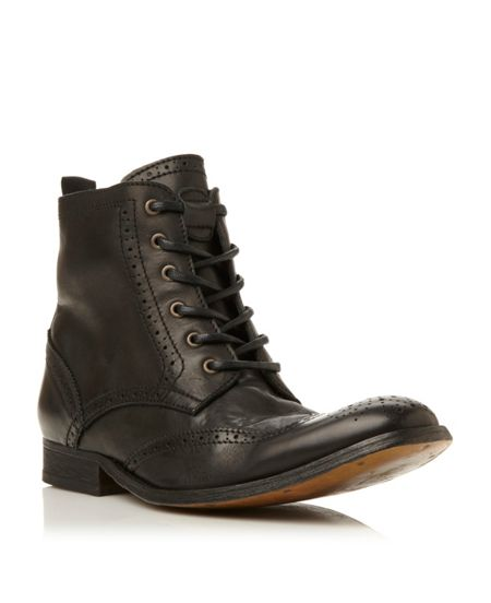 Hudson Angus washed brogue boot