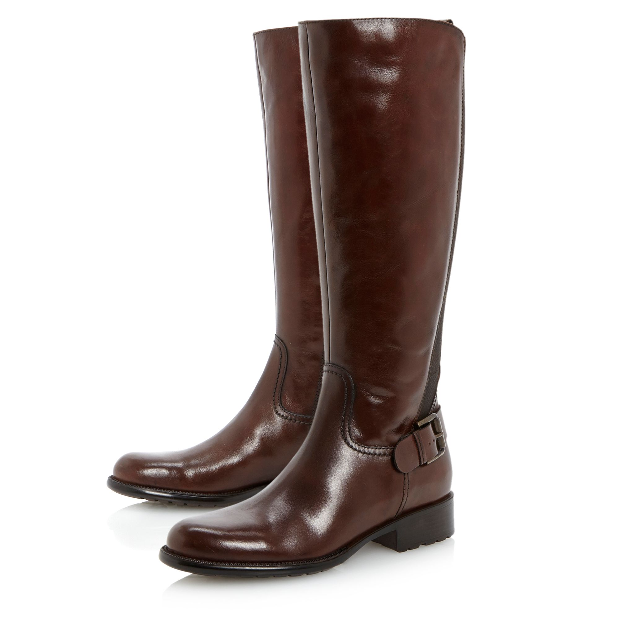 Toffee buckle cleated riding boots