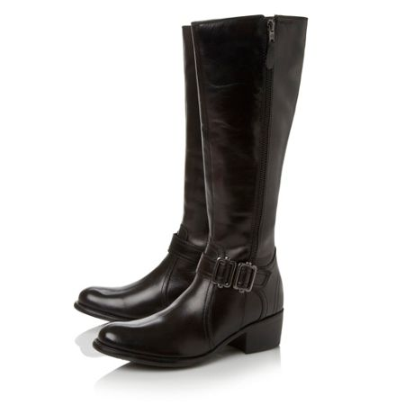 Linea Tatagonia-side zip and buckle detail boots