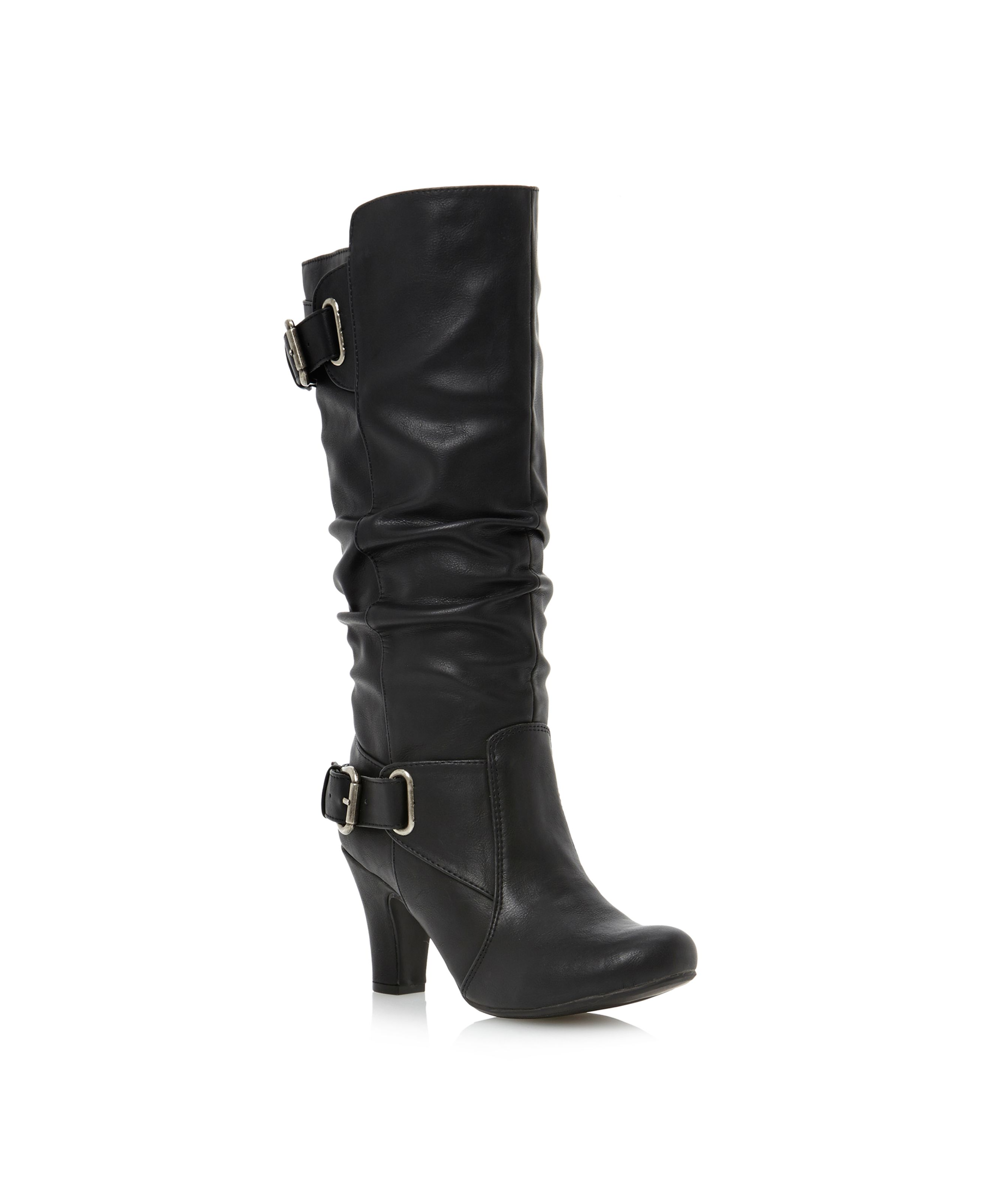Head Over Heels Poach slouch high leg boots Black