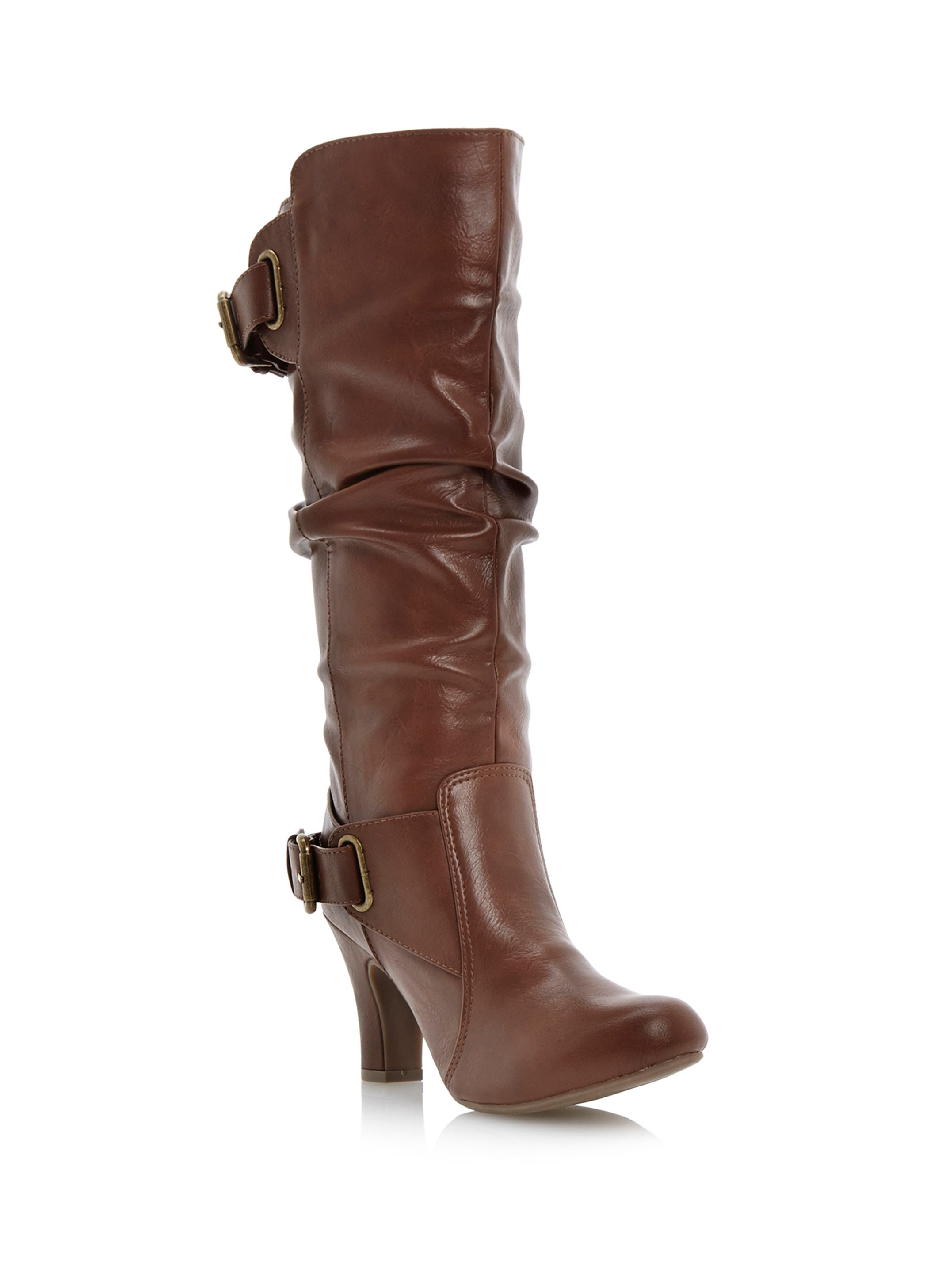 Poach slouch high leg boots