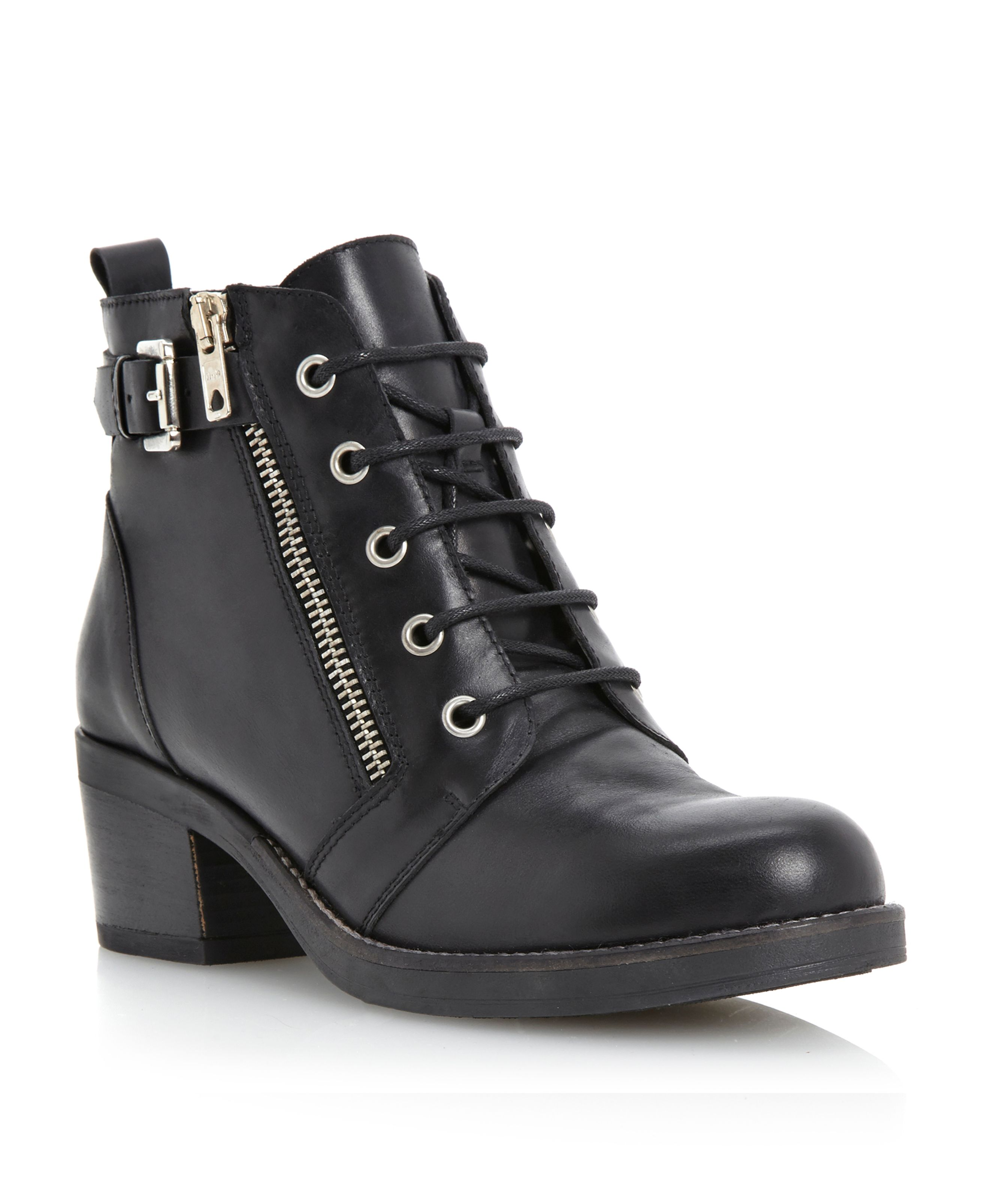Perdix side zip eyelet lace up boots