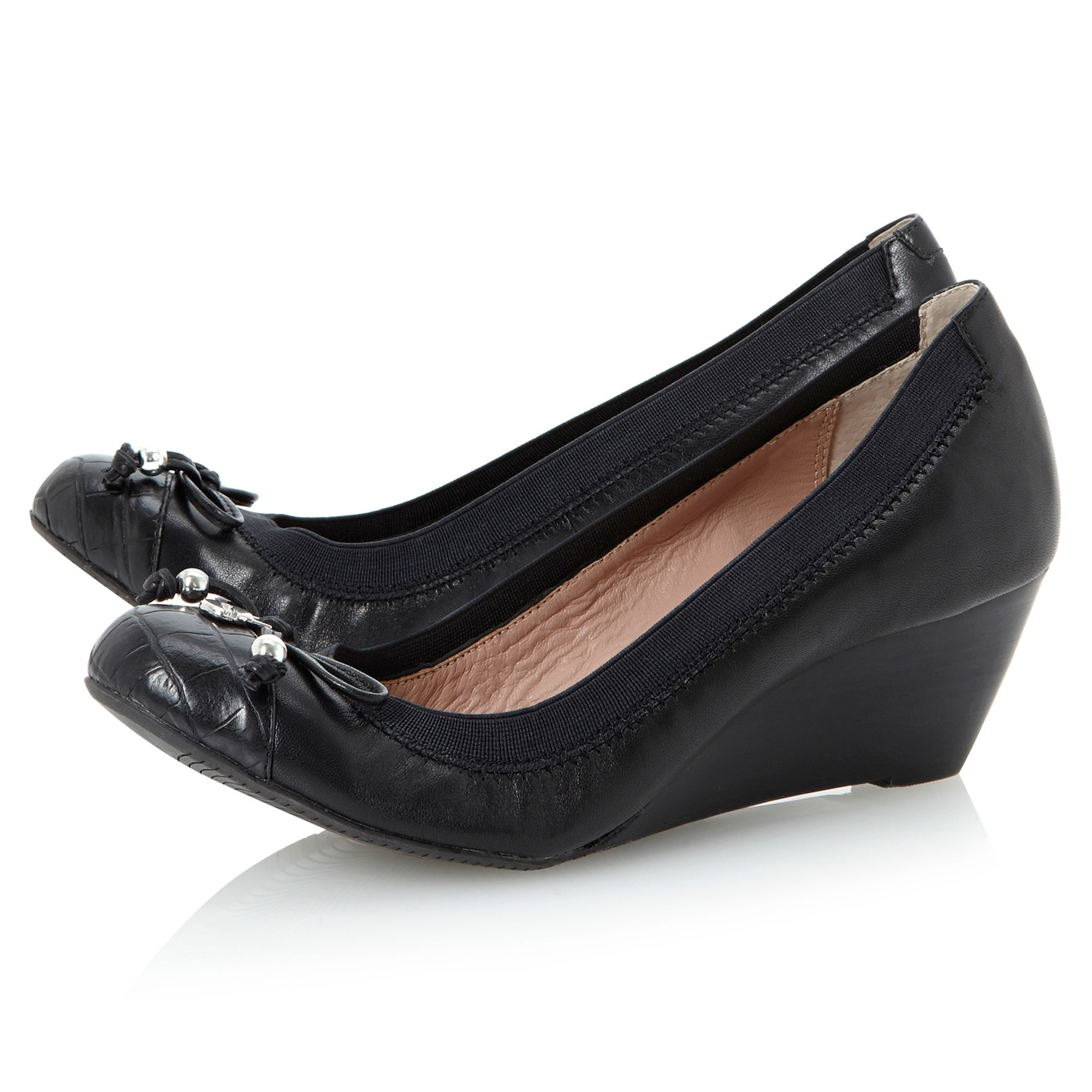 Attic round toecap wedge court shoes