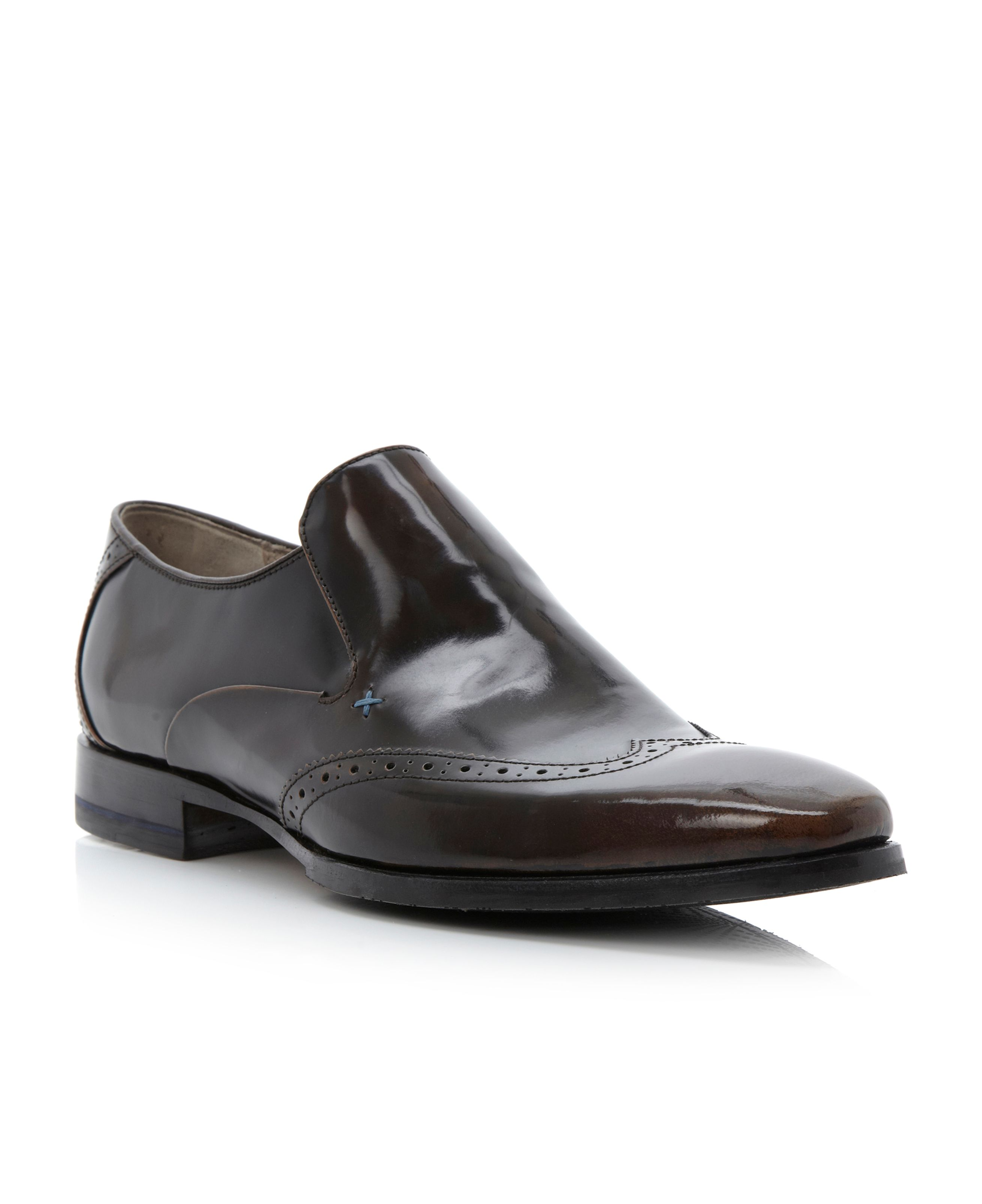 Bacton-wingtip brogue slip on