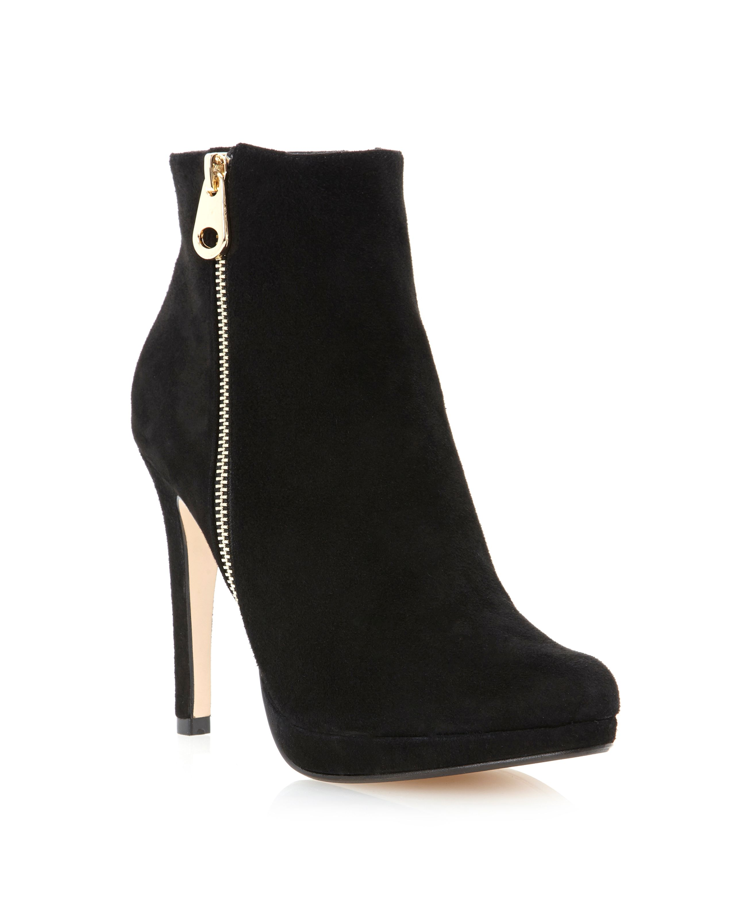 Niks-side gold zip platform boots