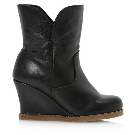 Dune Pan-faux fur crepe sole wedge ankle boots