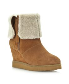Reach side zip-fold over wedge boots