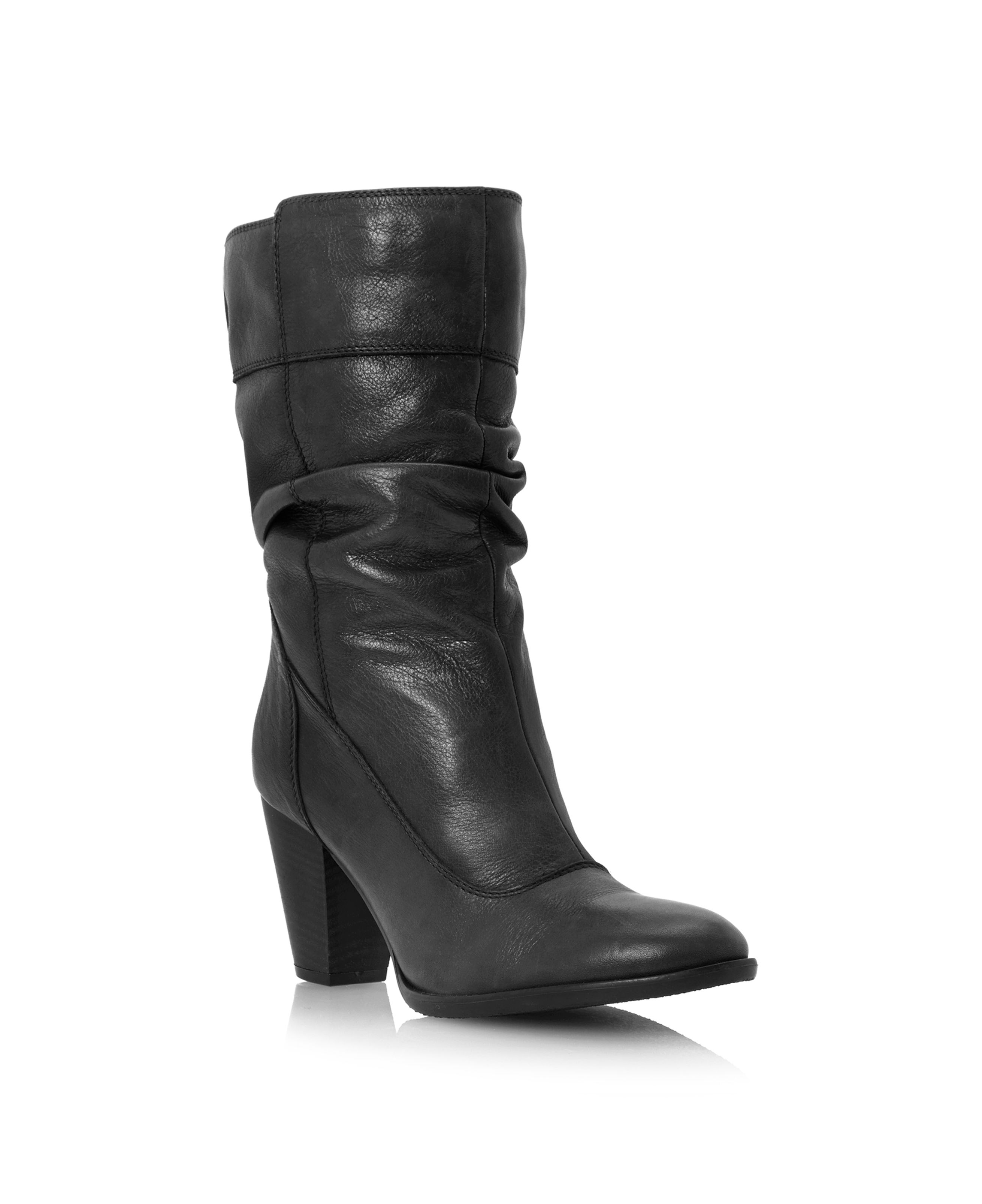 Dune Rad slouch block heel calf boots Black Leather