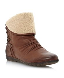 Paisley faux fur cuff ankle boots