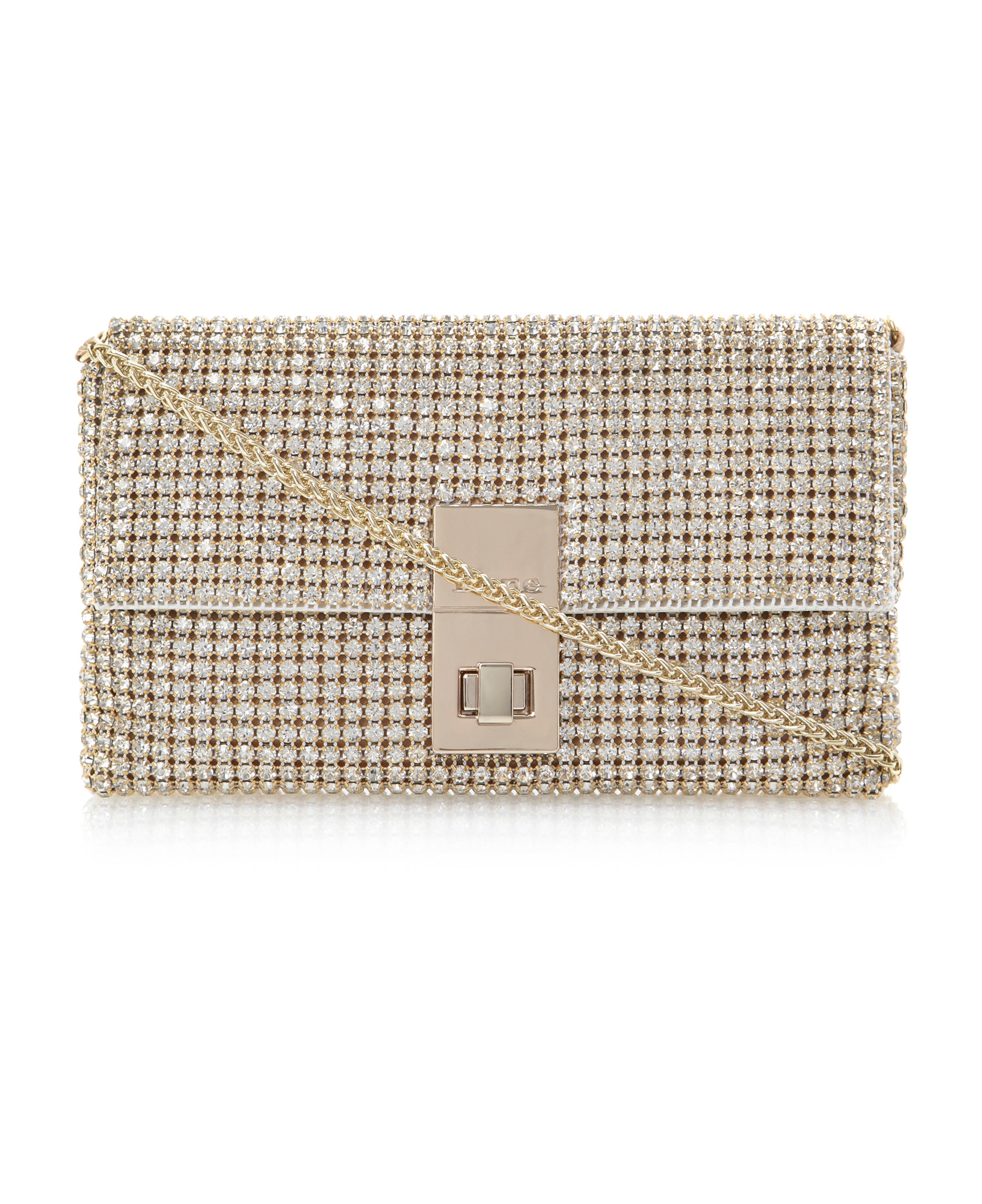 Eliza-foldover diamante clutch bag